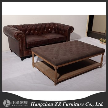 High End Chesterfield Living Room Leather Sofa Set