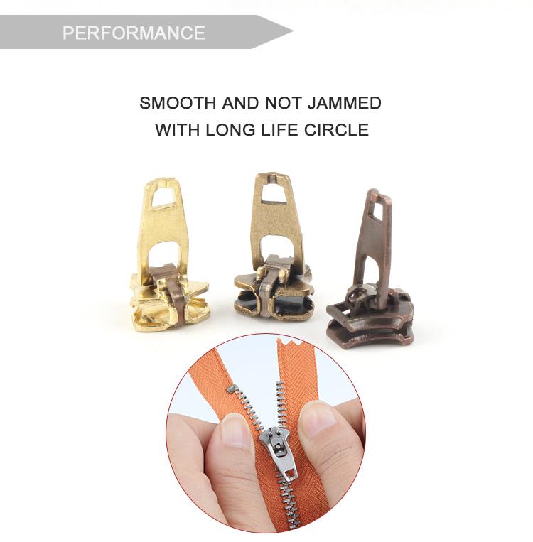 Custom Handtas Jas Doek Jurk Goud Zilver Black Metal Rits Dubbele Pull Cirkel Metalen Rits Sliders Puller