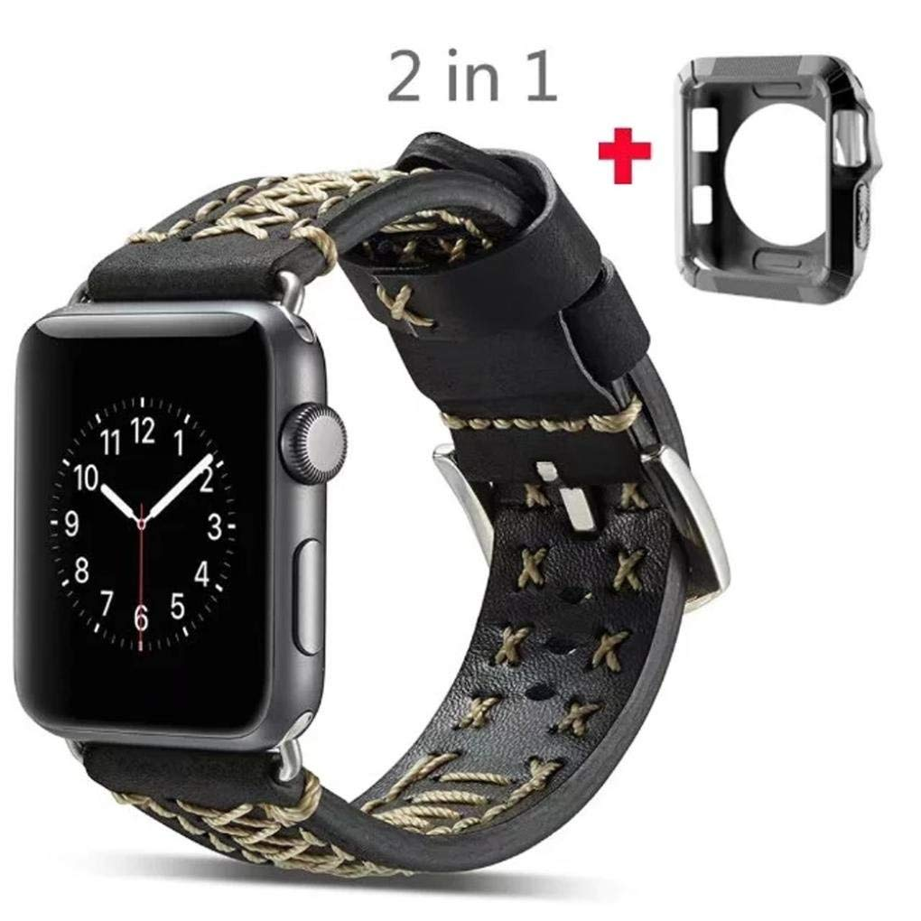 For Apple Watch Series 1/2/3 38MM ,[Leather Watch Band] --Quick Release Replacement Classic Buckle Vintage TPU Frame Wrist Band Watch Band Fashion Sports Bracelet Strap Women And Men (Black)