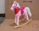 L74*H68*W28cm promotional customized stuffed 2-color children plush rocking horse toy with long hair&wooden base