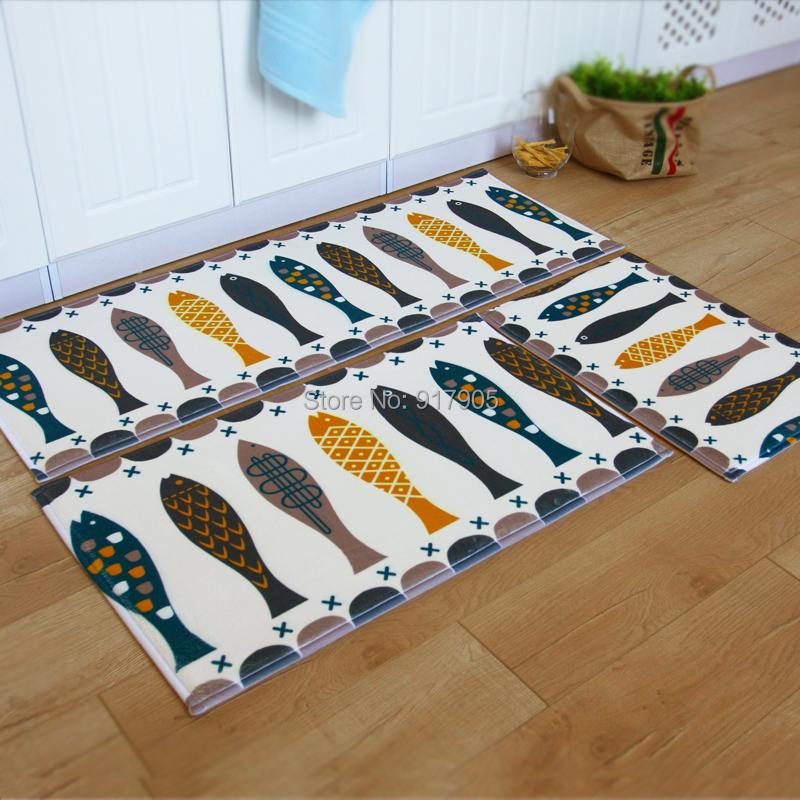 trois pi ces poissons cuisine tapis molleton petit tapis. Black Bedroom Furniture Sets. Home Design Ideas