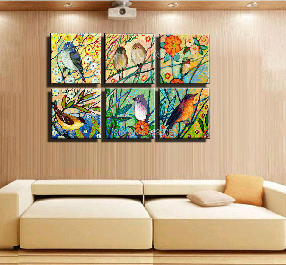 6 piece huge muti panel canvas wall art abstract tree birds decorative picture landscape oil. Black Bedroom Furniture Sets. Home Design Ideas