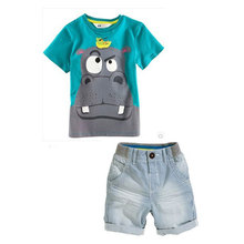 Cartoon designer clothing, children's clothing in 2015 lovely boy suit 2 sets summer cool T-shirt + shorts Pure cotton