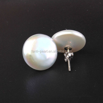 Coin Pearl Earring Loose Whole Freshwater