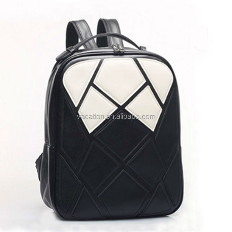 black and white match color PU active sport leisure backpack