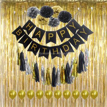 Happy Birthday Decoration Set Flag Banner Foil Gold Curtain Tissue Paper Pom Poms Tassel Garland Balloon