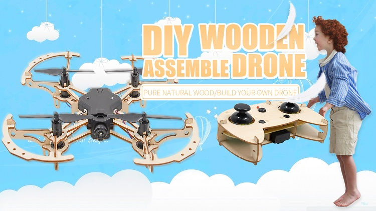 Professional wood diy stable flight drone kit controller