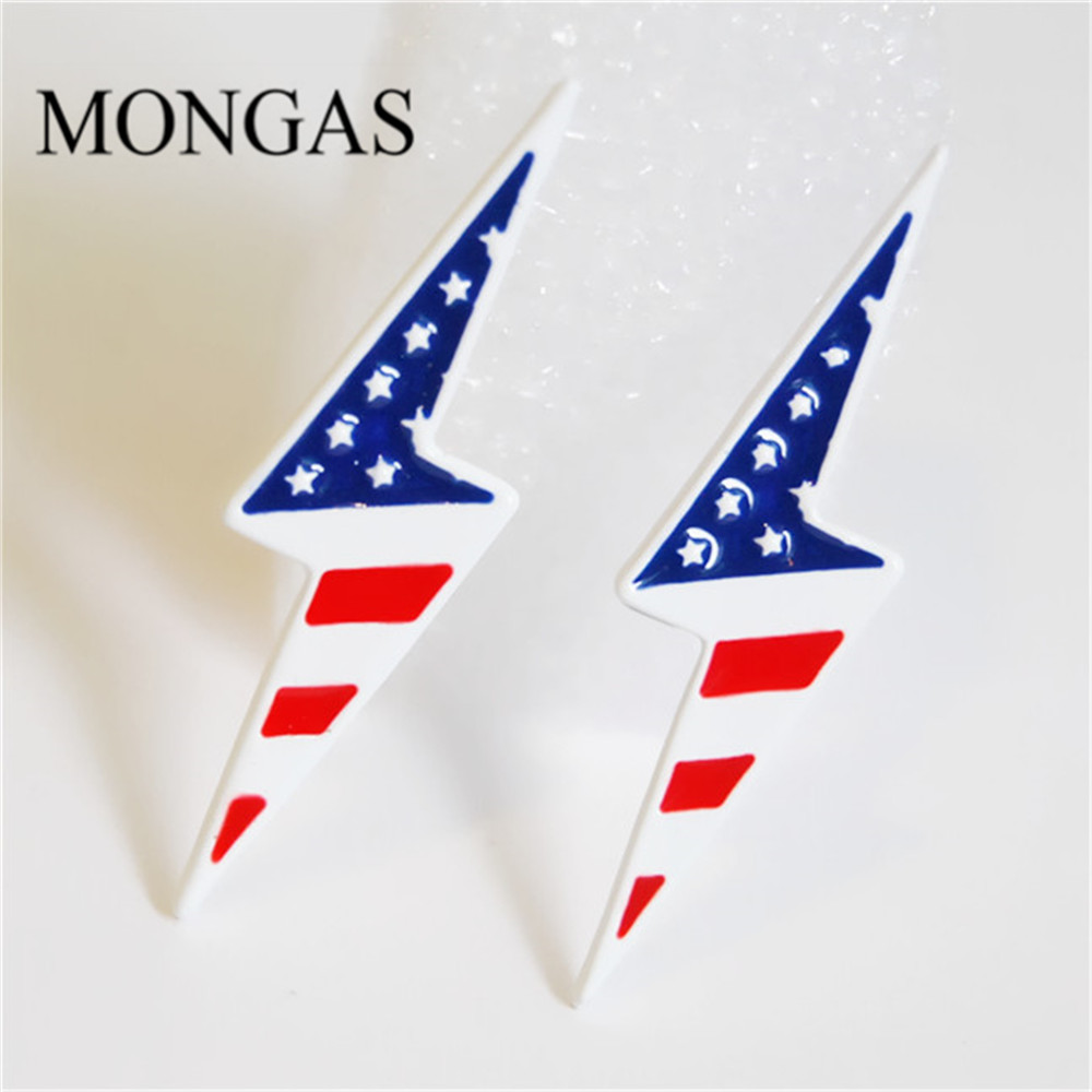 Fashion Mongas America Flag Stud Earrings Metal Oil Painting Earring Jewelry