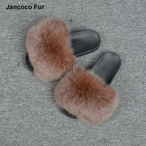 Service Supremacy Coffee Color Durable Fashion Slippers 100% Fox Fur Slides