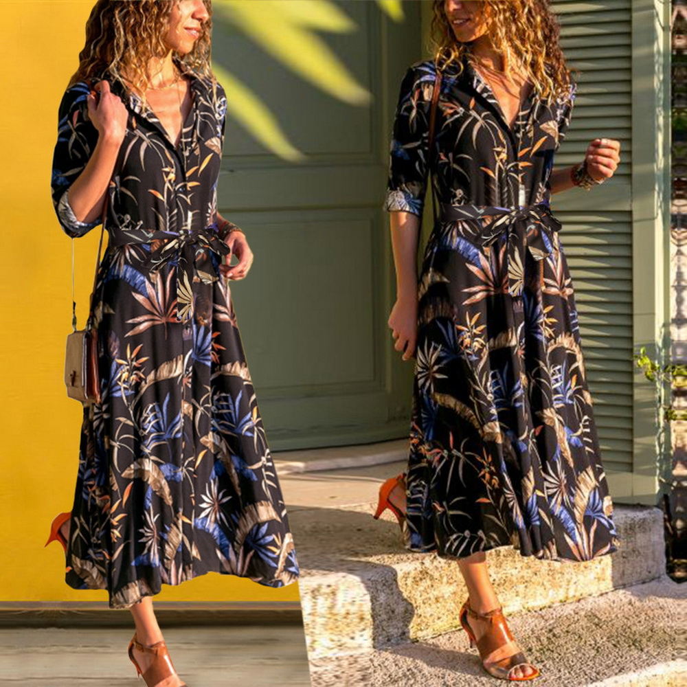 6fb84147af7 podzimní šaty příležitostný tisk šaty klopek dámské oblečení dlouhý ...