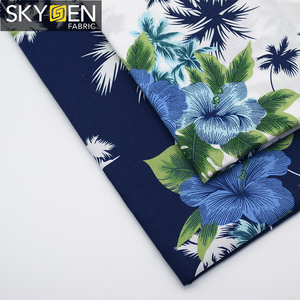 Skygen hot sale cheap 100 woven cotton shirts tropical print thailand hawaiian sea island cotton fabric