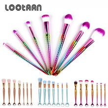 New Cosmetic Products Synthetic Hair Mermaid Spiral Rainbow Handle Diamond Makeup Brush Set For Custom Make Up Brushes