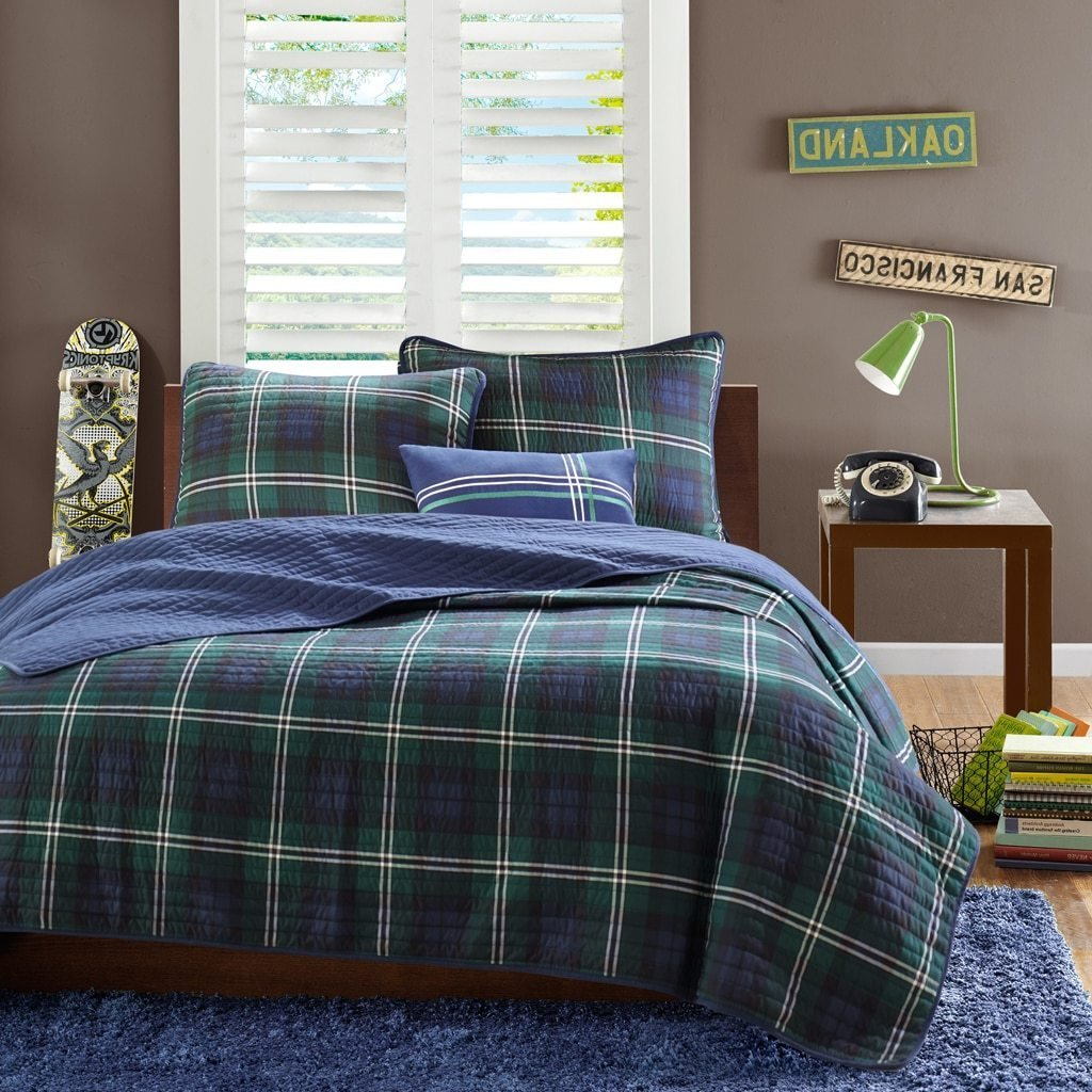 3 Piece Boys Navy Blue Green Madras Glen Plaid Theme Coverlet Twin XL Set, Stylish All Over Tartan Check Plaided Bedding, Horizontal Vertical Stripe Lodge Cabin Themed Pattern