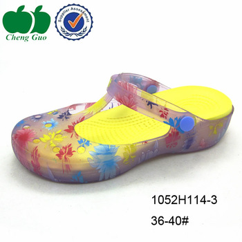 03517014fdbb Beach transparent eva jelly clogs garden pvc clogs women printed eva clogs