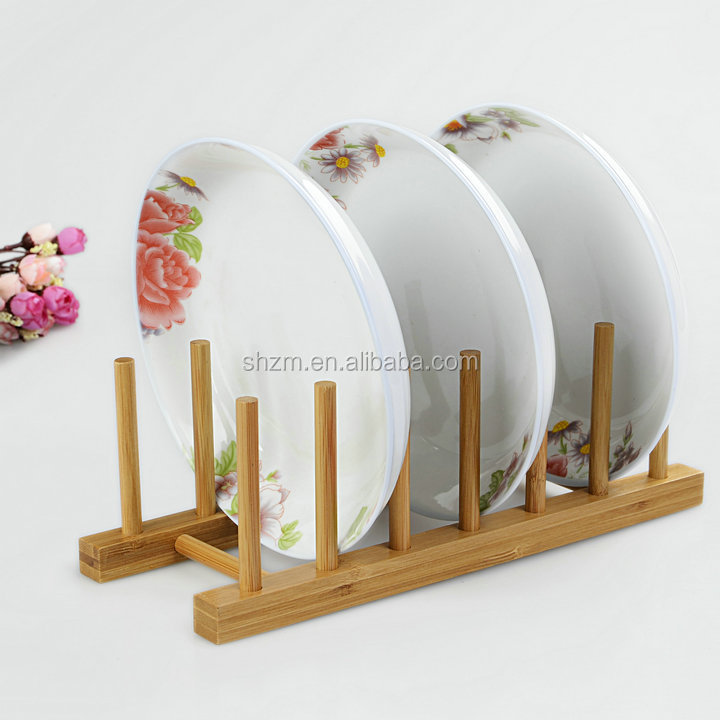Eco Friendly Bamboo Wood Plates / Pots / Pans / Cups Dish Drying Rack