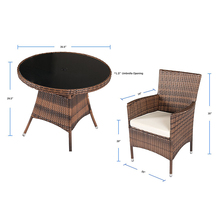 Garden Table and Chairs Wicker Dining Set PE Rattan Patio Furniture Round Table Chairs