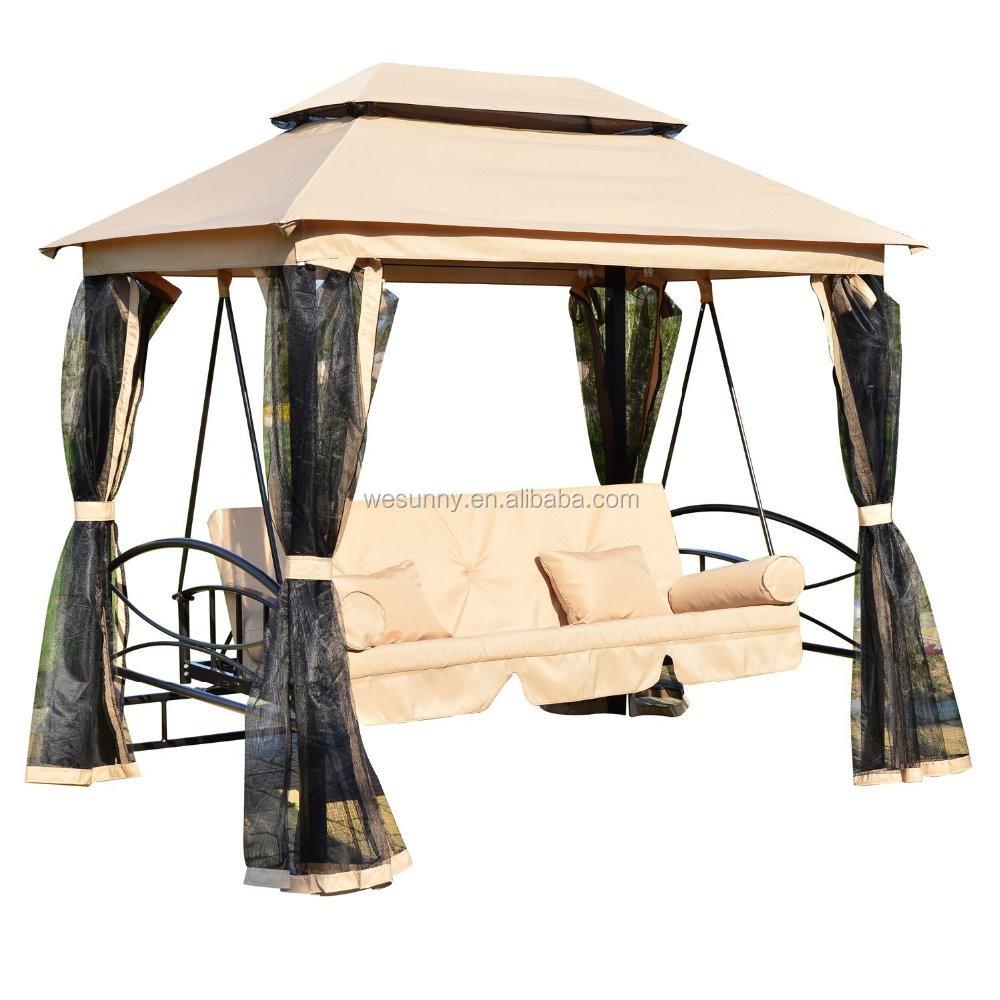 Outsunny 3 personne ext rieure patio m ridienne canopy - Balancoire 1 personne ...
