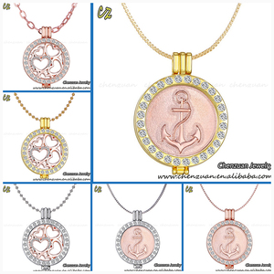 High quality My 33mm coin crystal Coin Disc Keeper Holder Necklace
