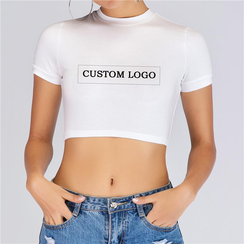 Toptan kadın moda özel Logo baskı gömlek seksi bayanlar yaz kısa kollu mahsul Tops