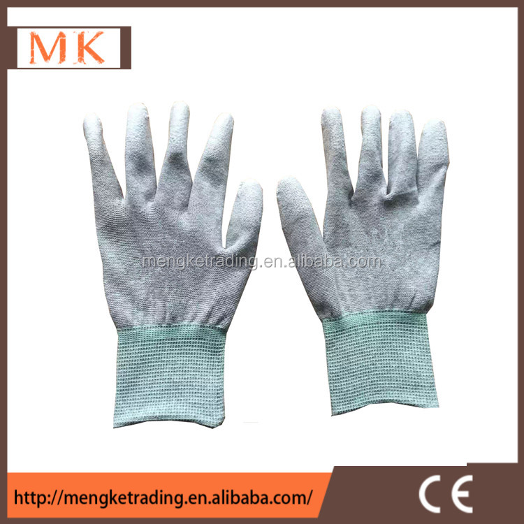 PU finger coated carbon fiber esd gloves
