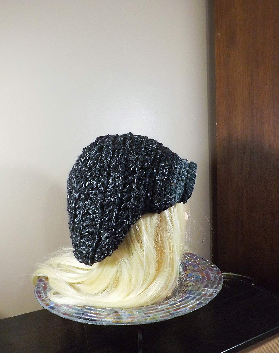 08d8d1fa Get Quotations · Slouchy Newsboy Hat, Crochet Slouchy Hat, Black and Grey News  Boy Hat, Unisex