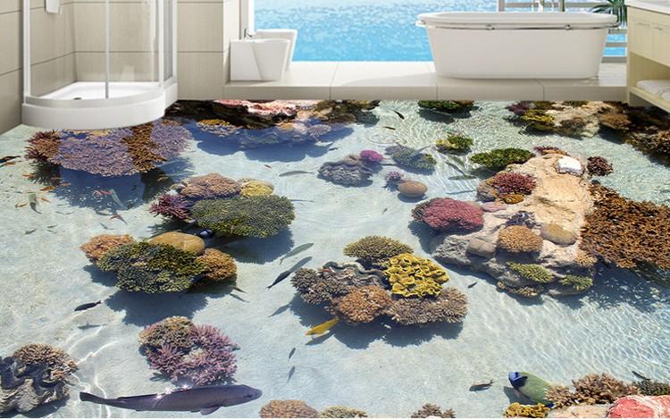 Bathroom tile floor sticker with 3d picture pvc materials - Dalles pvc adhesives pour salle de bain ...