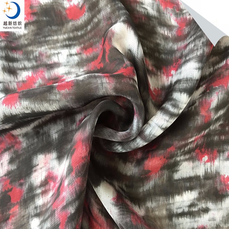 2017 100% Polyester Material grey woven printed silk chiffon fabric roll