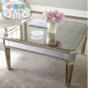 TOP MIRROR JSJ-F039 mirrored furniture antique square coffee table end table for wholesale