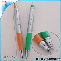 Silver barrel colorful rubber grip click ball pen promotion