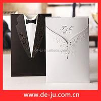 Ceremony Crad Groom Bride Coat Wedding Invitation