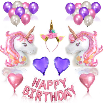 Happy Birthday Letter Balloons Kids Foil Unicorn