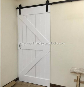 Cheap One Panel White Wood Strips Hanging Sliding Barn Door