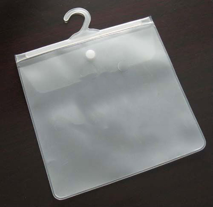 China made pvc soft plastic hanger hook bag for packing