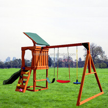 wooden outdoor playground slide and swing set