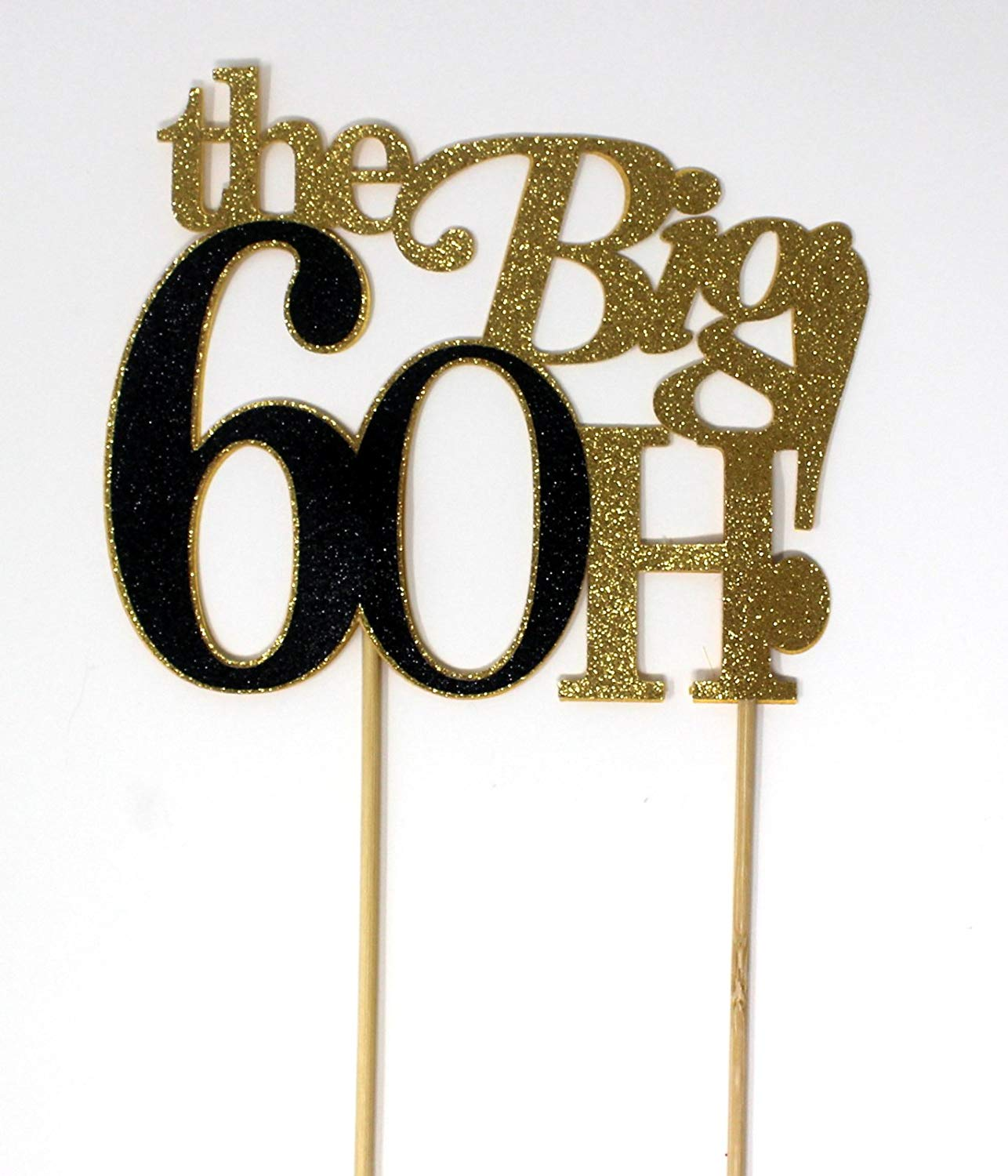 All About Details The Big 6OH! Cake Topper (Gold & Black) 1pc, 60th birthday, 60th anniversary, glitter topper