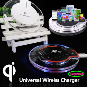 New products Fantasy Qi Wireless Charger Crystal UFO Shape Charging Pad with LED Light for huawei mate 8 honor 7 8