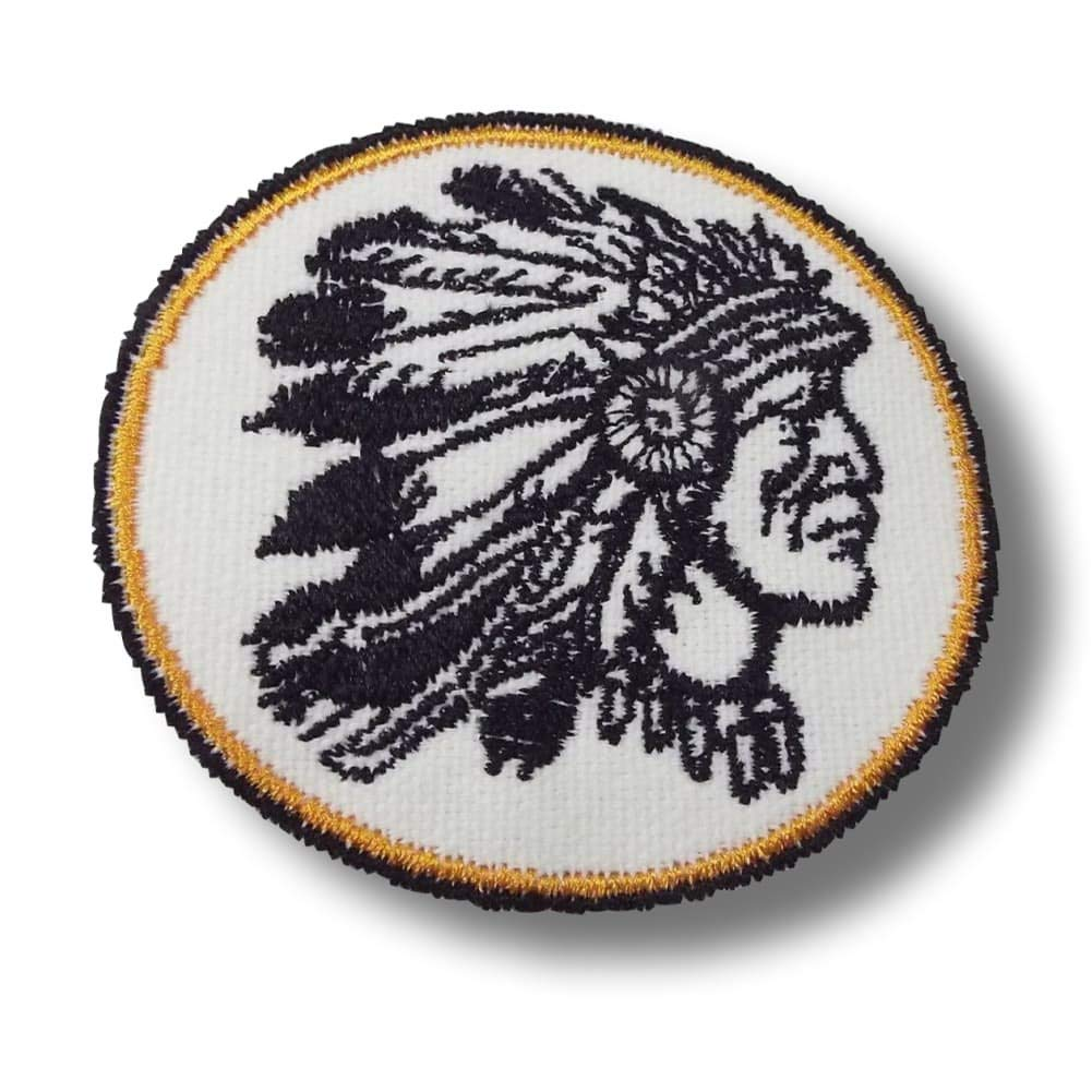"[Single Count] Custom and Unique (3"" Inches) Circle Stitched Cool Native American Indian Chief Iron On Embroidered Applique Patch {Black, White, & Yellow}"