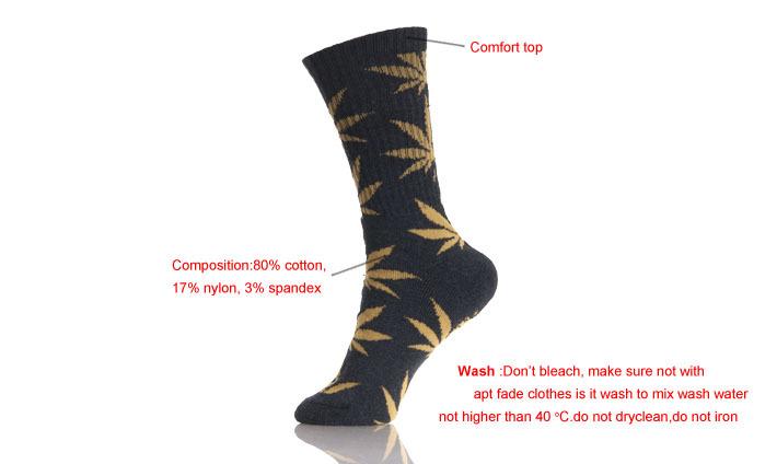 Boys Hemp Pattern  Leaf Fashion Socks Wholesale