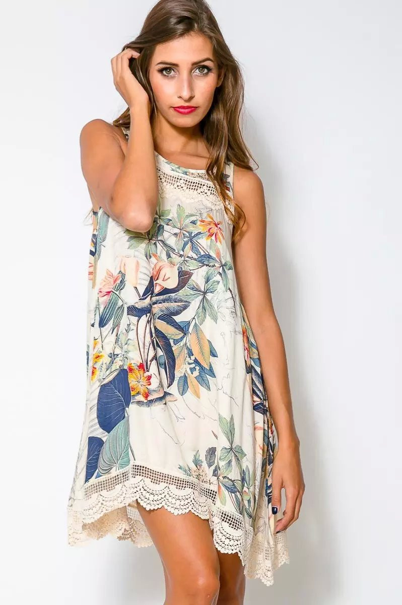 ffd63e92ed533 Get Quotations · FUZ6587 Floral Printed Summer Dress 2015 Latest Designs  Clothing O Neck Laced Trims Women Mini Dress
