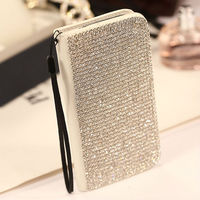 Luxury Diamond Leather Flip Case for Samsung Galaxy S4 with Strap Lanyard
