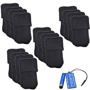 BCP 16pcs Black Color Knitting Wool Furniture Socks/ Chair Leg Floor Protector (Black Color) by BCP