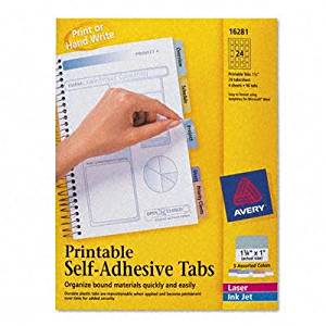 "Avery - 4 Pack - Printable Repositionable Plastic Tabs 1 1/4 Inch Assorted 96/Pack ""Product Category: Labels Indexes & Stamps/Index Dividers Tabs & File Guides"""