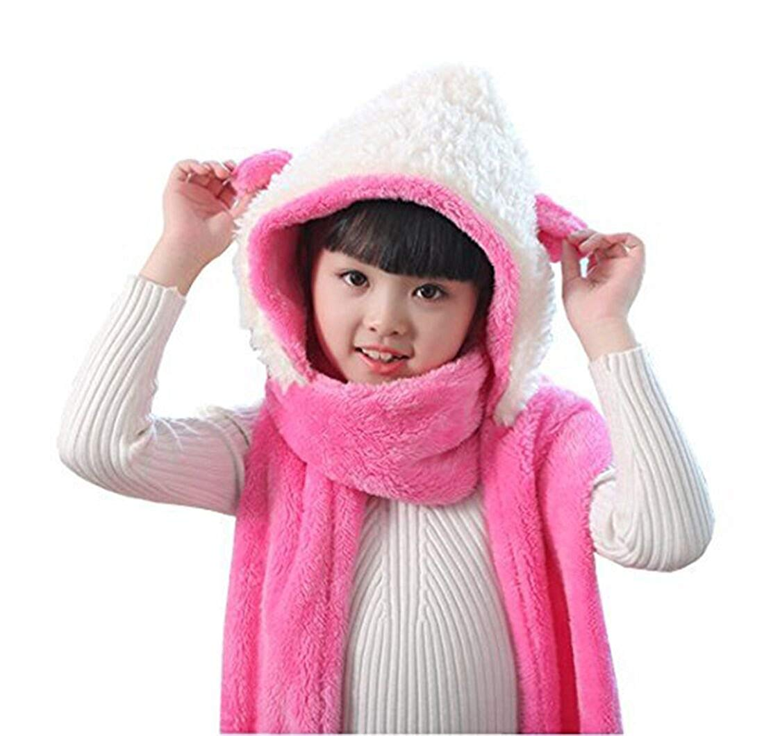 7d12c4411a2c8c Kids Toddler Cartoon Fleece Hat Gloves Scarf 3 In 1 Set Girls Boys Winter  Cute Warm Long Hoodie Earflap Hat Snood Wraps Children Baby Plush Novelty  Scarf ...