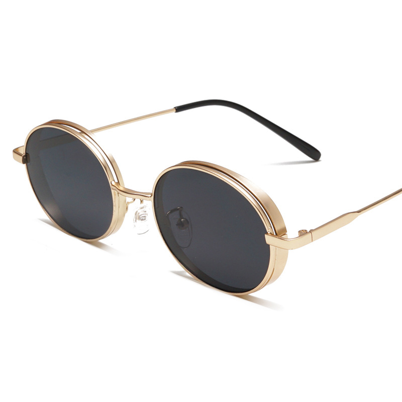 Taizhou UV400 Custom Logo Metal Hinge Alloy Gold Black Frame Oval Small Vintage Cat Eye Eyewear Men Retro Steampunk Sunglasses