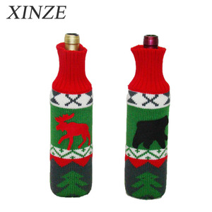 yarn knit wine bag christmas cable knit bottle dress