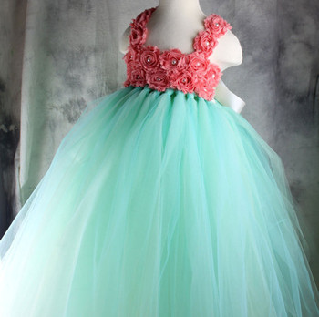 Mint green coral flower girl dress wedding birthday tutu dress mint green coral flower girl dress wedding birthday tutu dress newborn 2t to 8t mightylinksfo