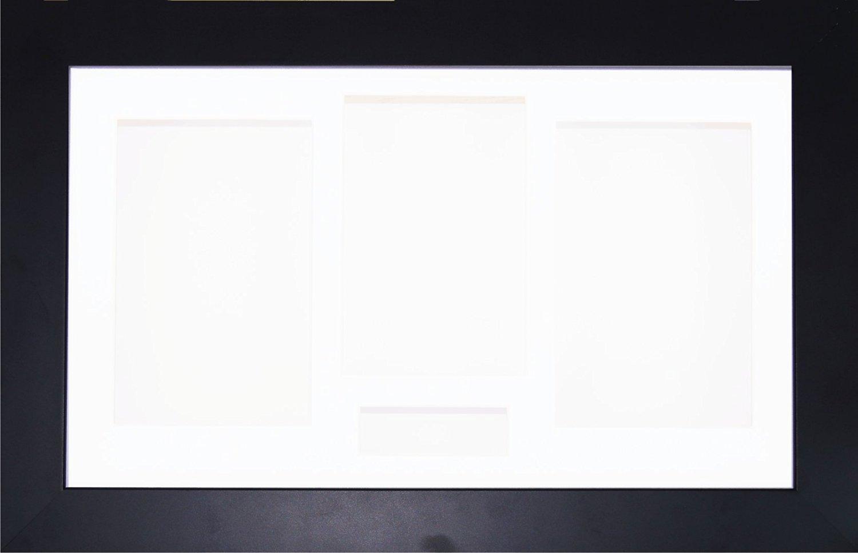 BabyRice 14.5x8.5 White Shadow Box 3D Medal Keepsake Casts Flowers Display Frame//White 4 Aperture Mount//White backing