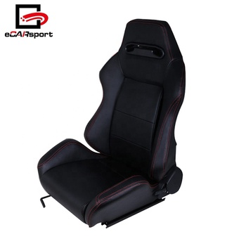 Universal Car Seat Racing Bucket Black PU Leather Red Stitching Fully Reclinable Type-R Racing Seat