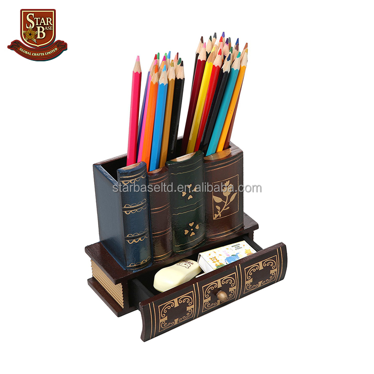 Decorative Library Books Design Office Supply Pencil Holder Organizer with Bottom Drawer