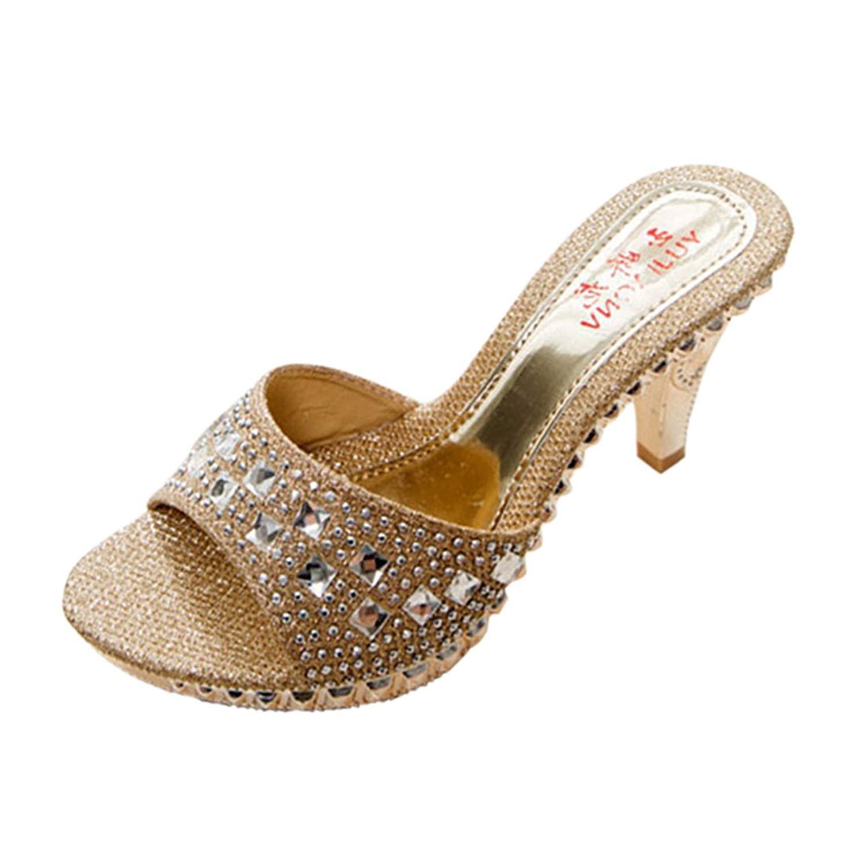 f295d66d16e Get Quotations · Jiyaru Women s PU Sandal Slipper Open Toe High Heel Slide  Sandal